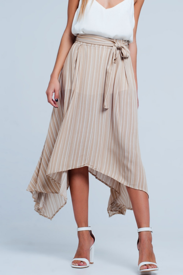 Beige midi skirt with tie detail in stripe