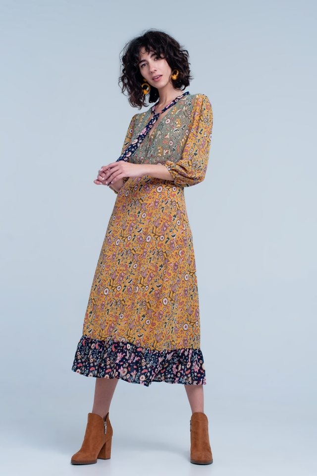 Flower print maxi dress in mustard