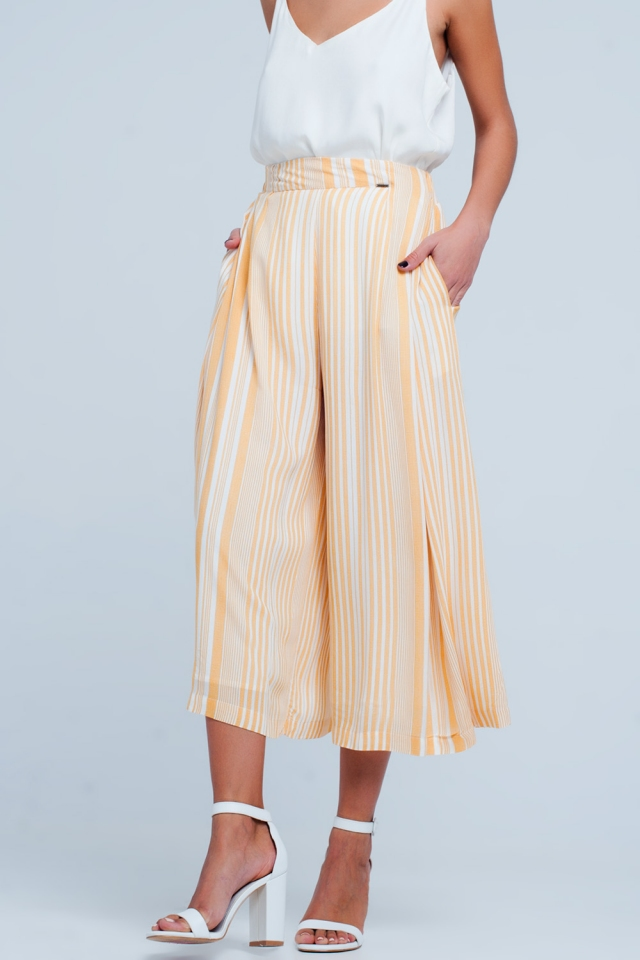 Culottes in yellow stripe