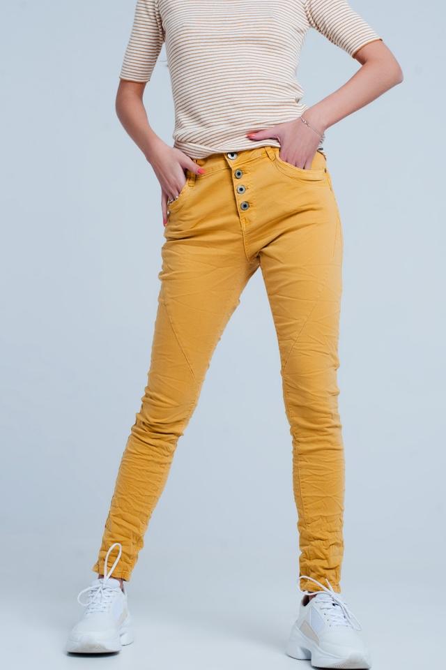 Mustard low rise boyfriend jeans