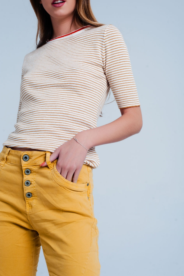 Mustard cropped Sleeve Sweater in Breton Stripe