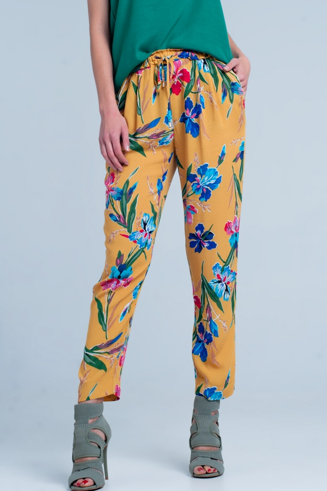 Mustard pants with flower print