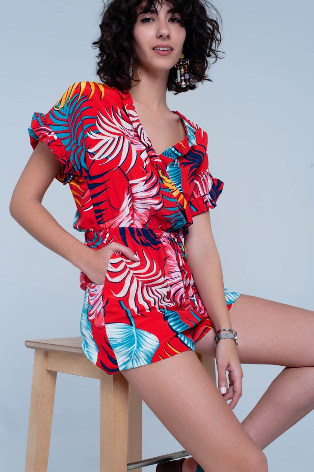Red jumpsuit with flower print