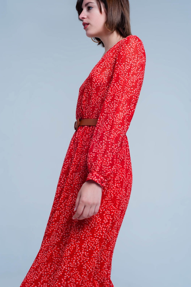 Dress with v-neck in red