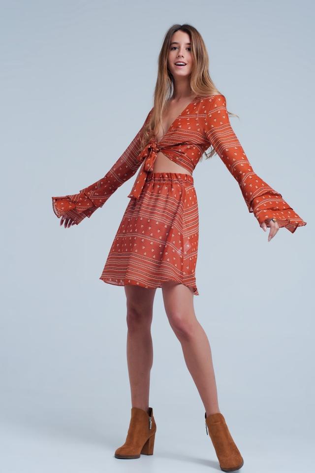 Brown skirt with print