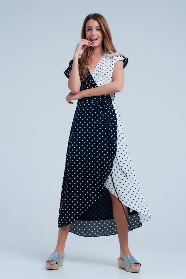 Black white wrap dress with polka dots