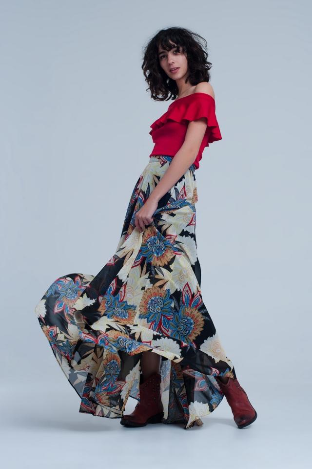 Long black skirt with flower print