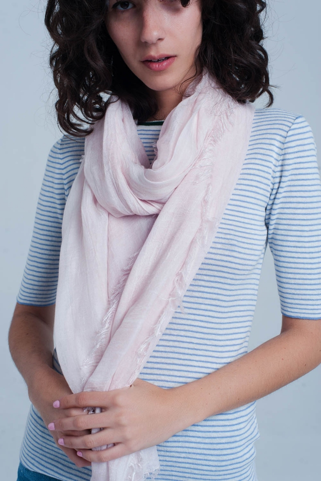 Thin light pink scarf
