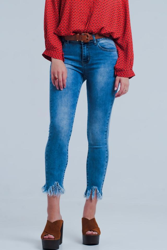 Light denim skinny jeans