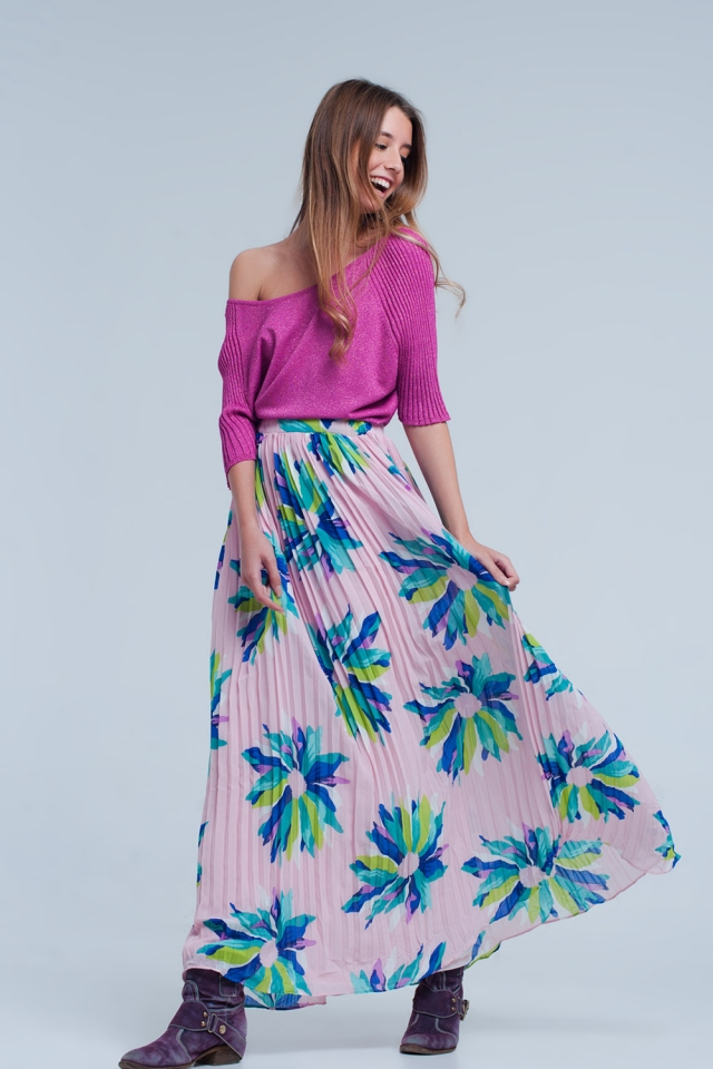 Pink maxi skirt with flower print