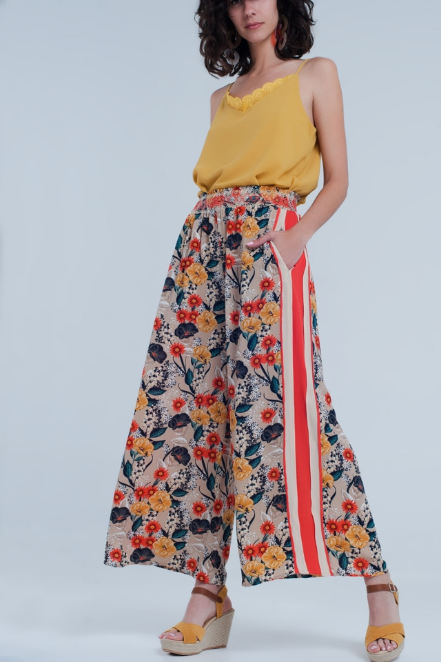 Beige floral pants with side stripe