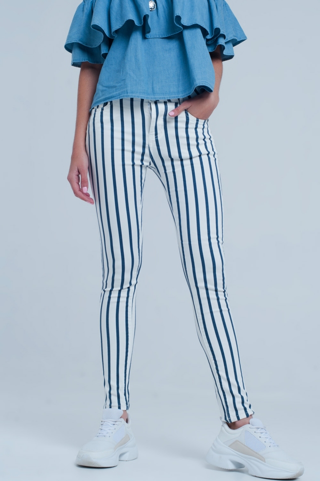 White skinny jeans with dark blue stripes