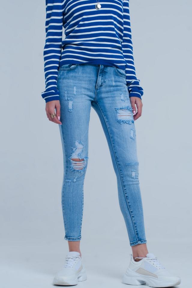 Light ripped skinny jeans