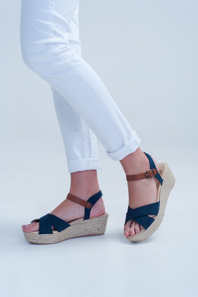 Navy square toe wedge espadrilles