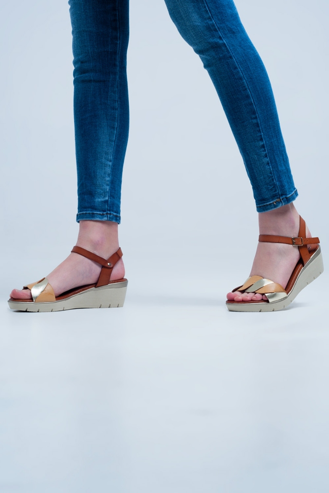 Golden leather wedge sandals