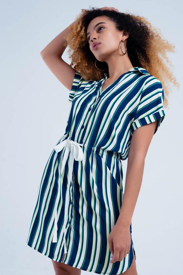 Navy dress with stripes