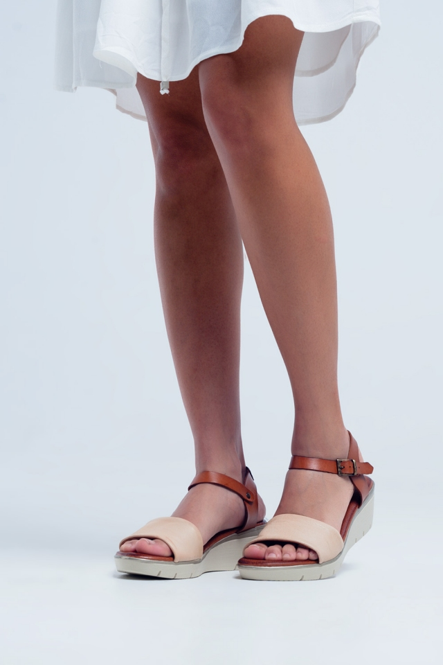 Cream leather wedge sandals