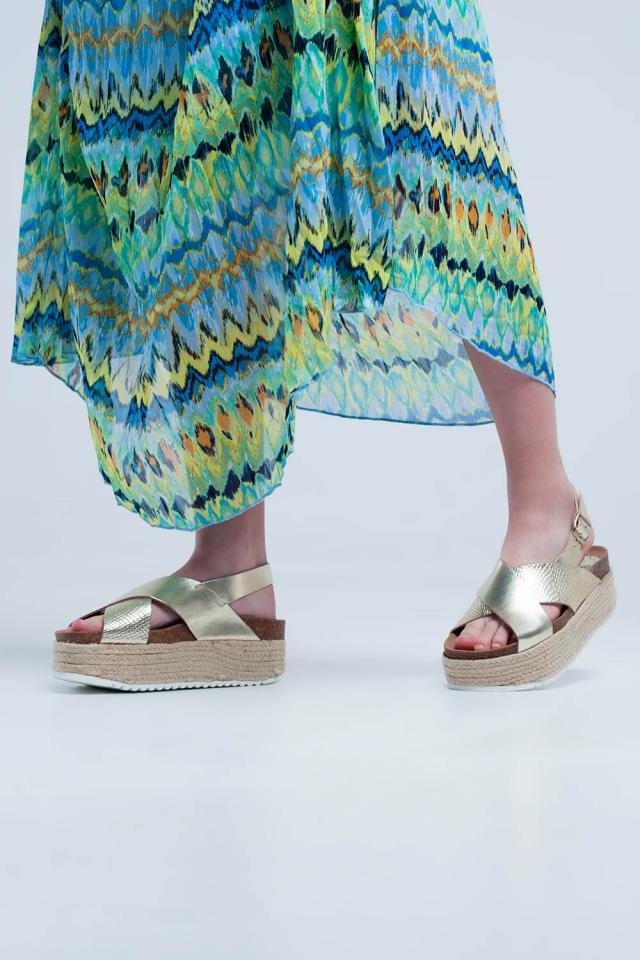 Platform espadrille sandals in gold