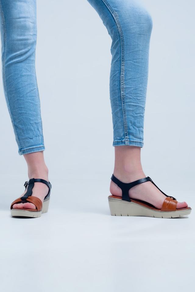 Black-camel coloured wedge sandals
