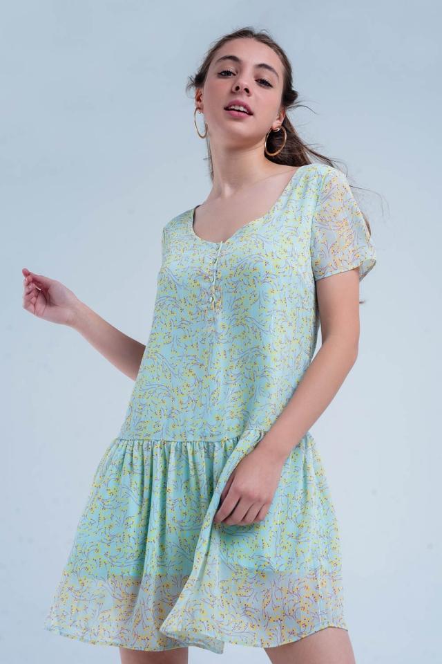 Green mini dress with flower print