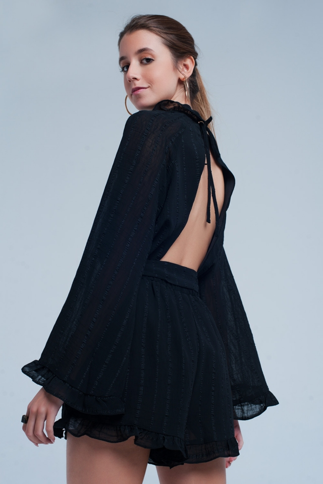 Black playsuit with open back