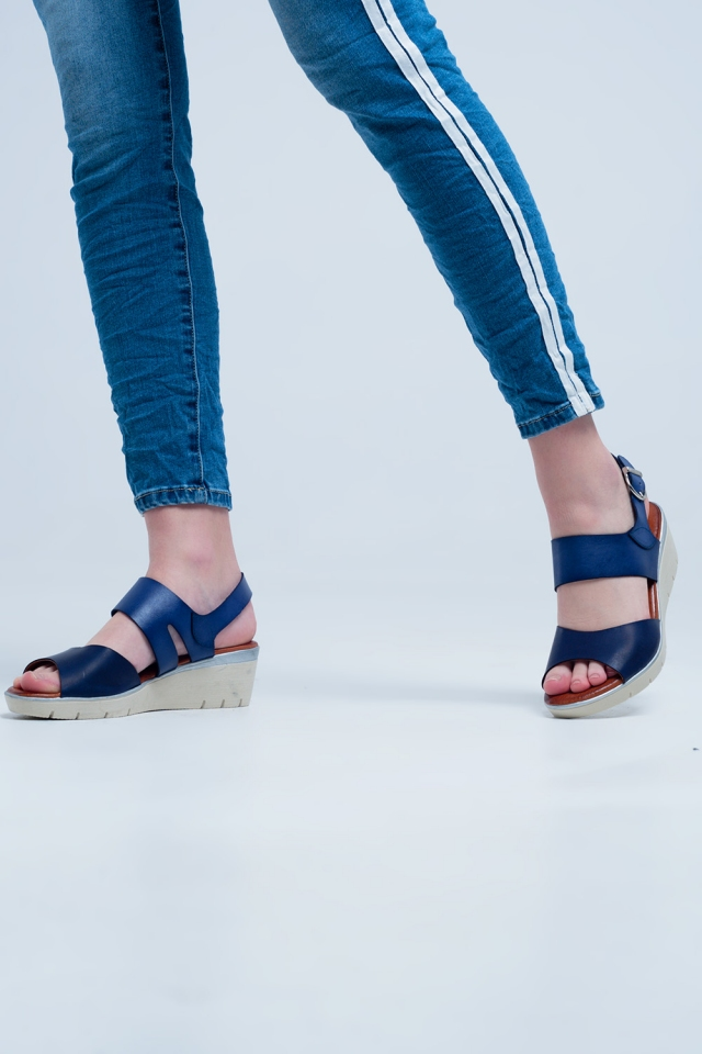 Navy coloured wedge sandals