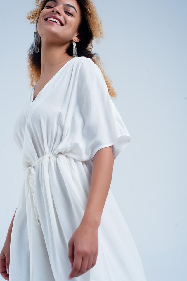 Tie waist midi dress in white