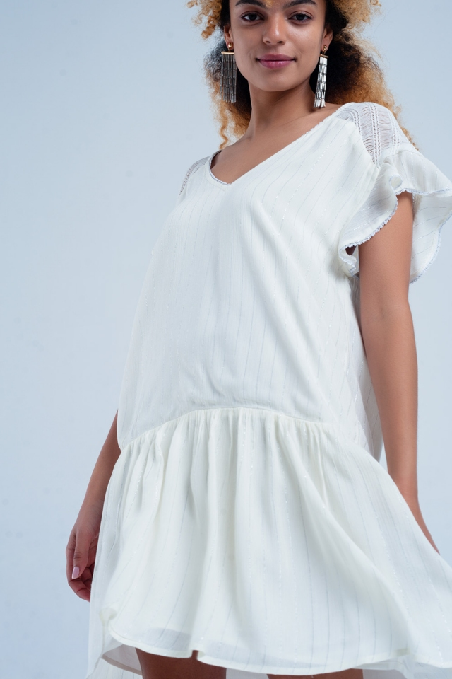 Cream loose fitting dress with stripes