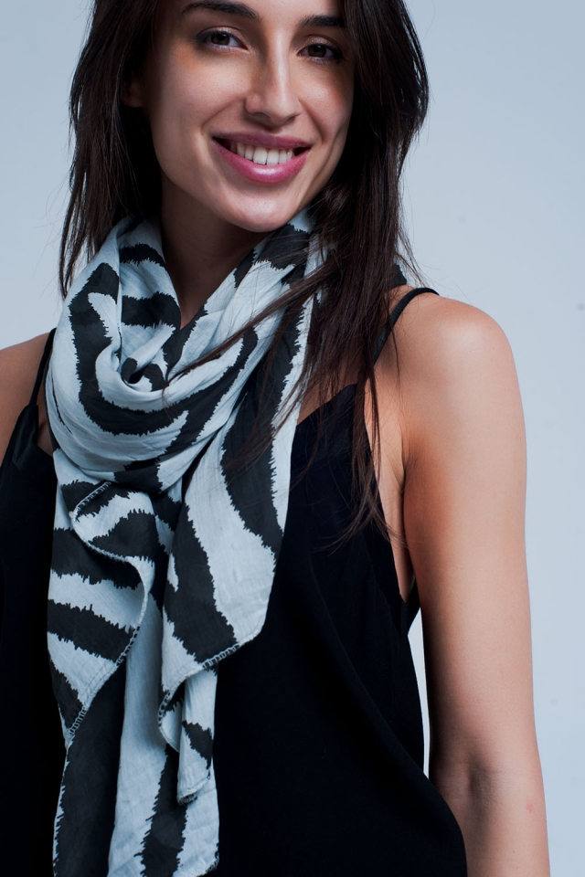 Grey scarf with zebra print
