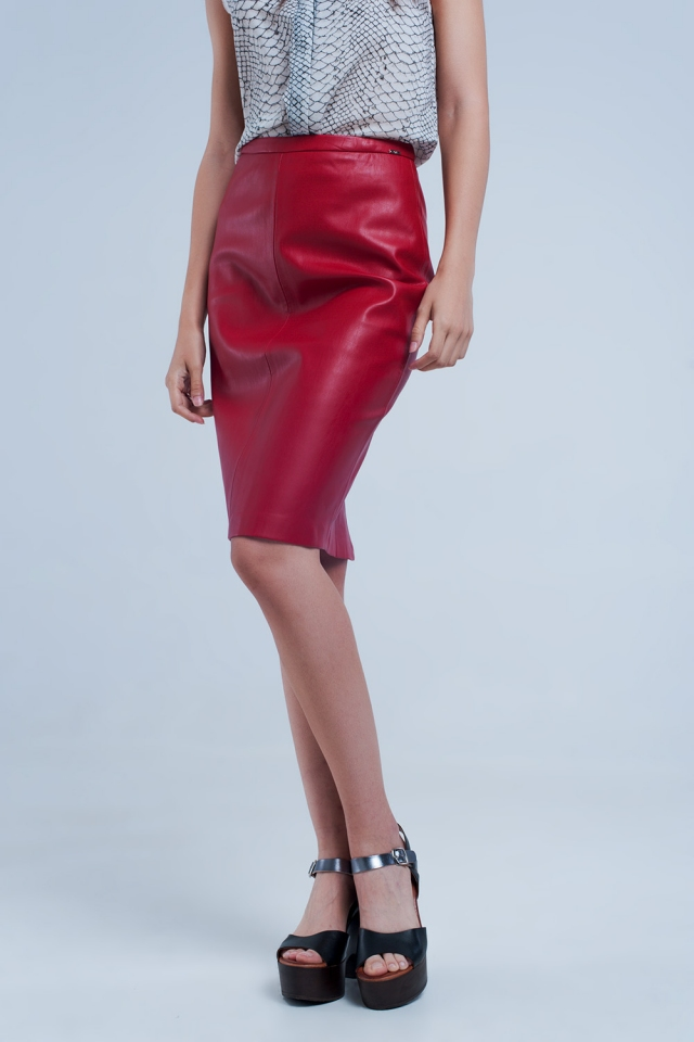 Red midi straight faux leather skirt