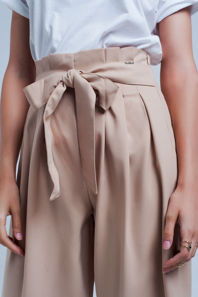 Beige wide leg pants with paperbag detail