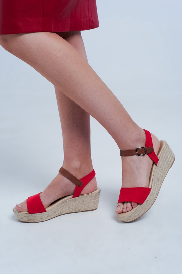 Wedge espadrille sandals in red