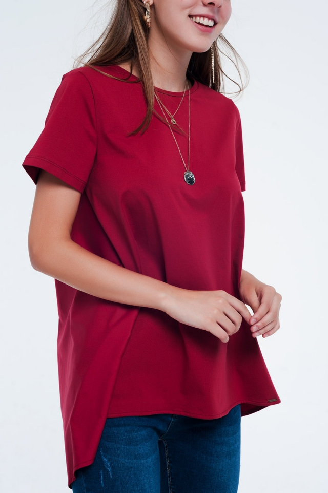 T-shirt dress in Maroon