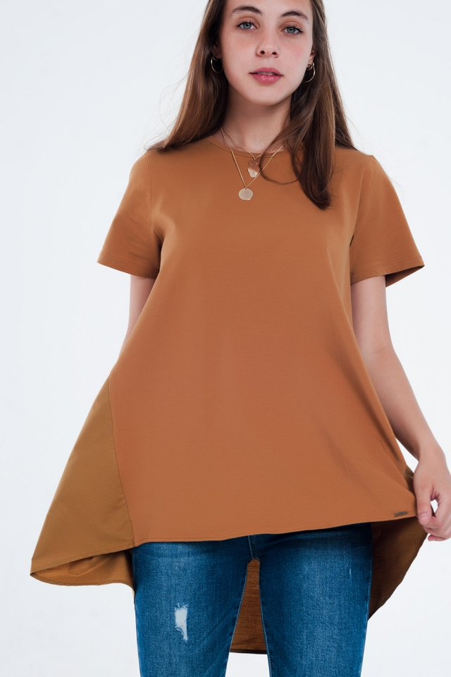T-shirt dress in brown