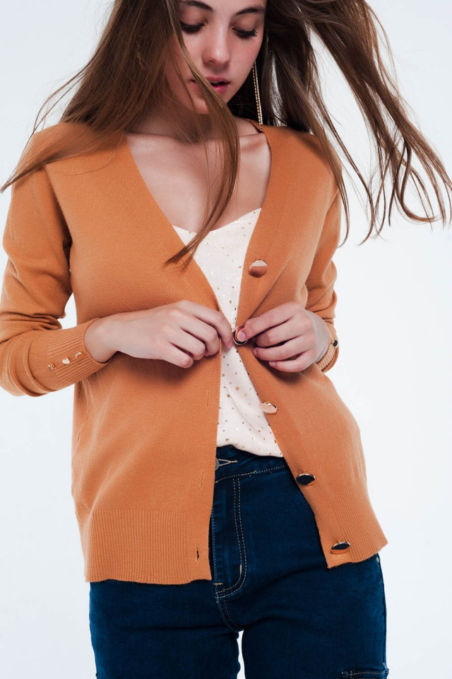 Camel cardigan with button detail