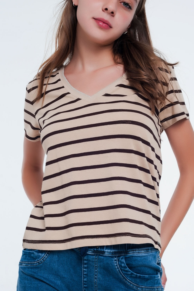 Beige stripe v-neck t-shirt