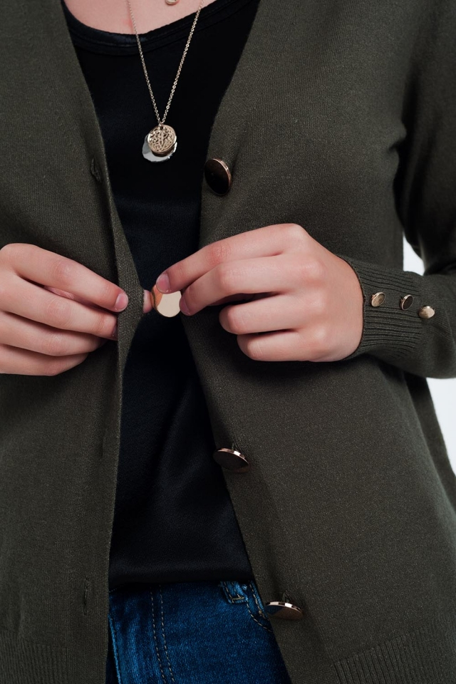 Khaki cardigan with button detail