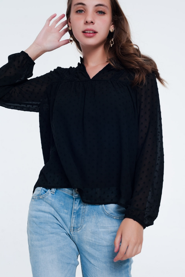 Sheer textured dot print blouse in black