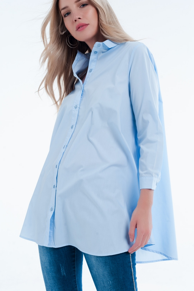 Basic blue Longline Shirtdress