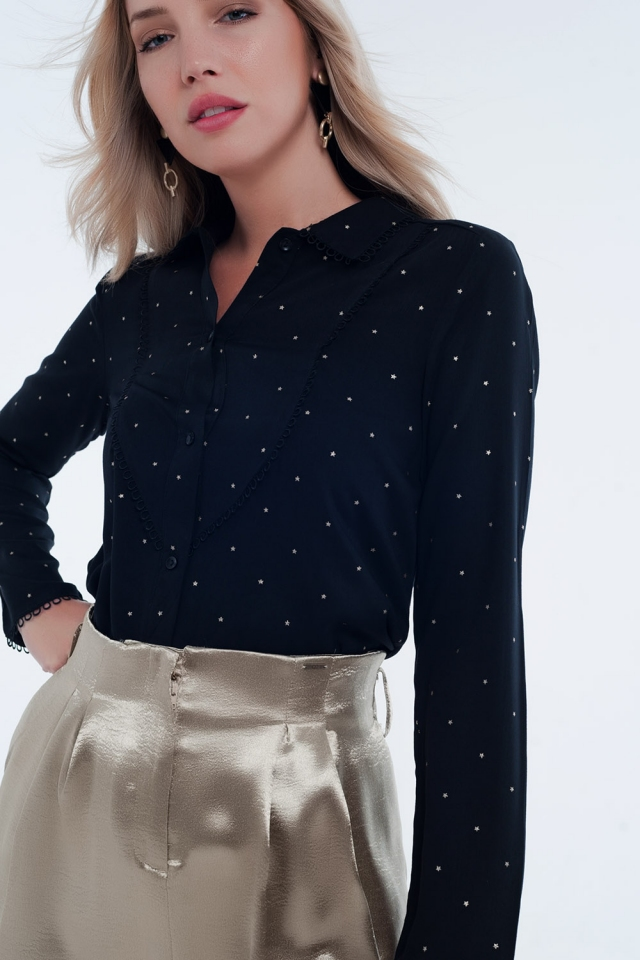 Black long sleeve tea blouse with collar detail