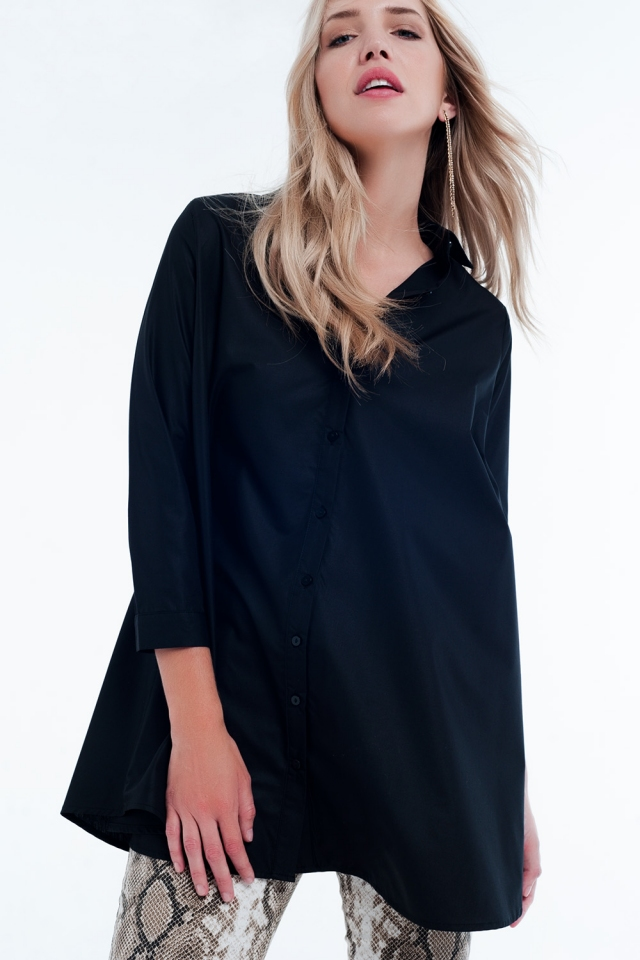Basic black poplin Longline Shirtdress