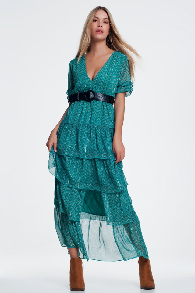 Green Tiered Maxi Dress