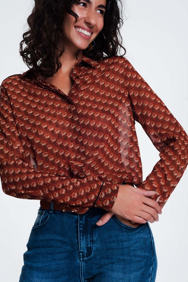 Regular fit sheer patterned camel shirt