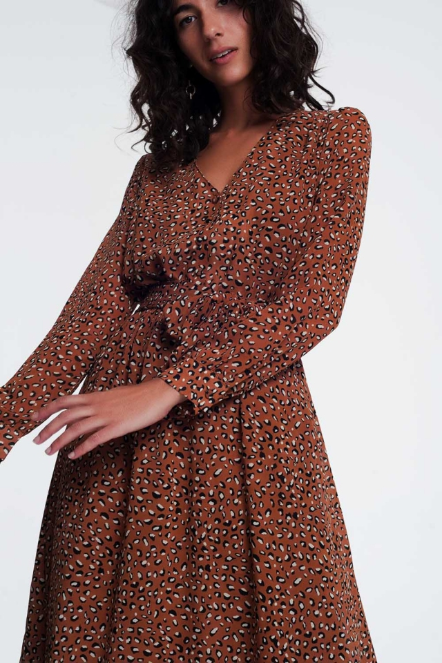 V front leopard print midi dress in brown