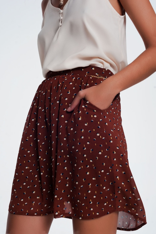 Mini skirt brown in scribble polka dot