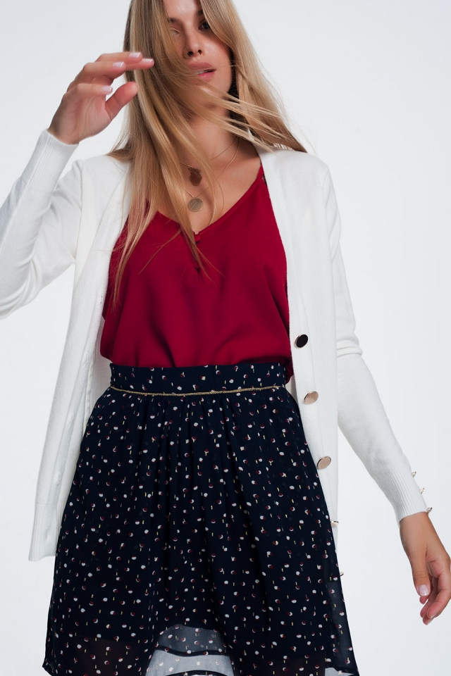 White cardigan with button detail