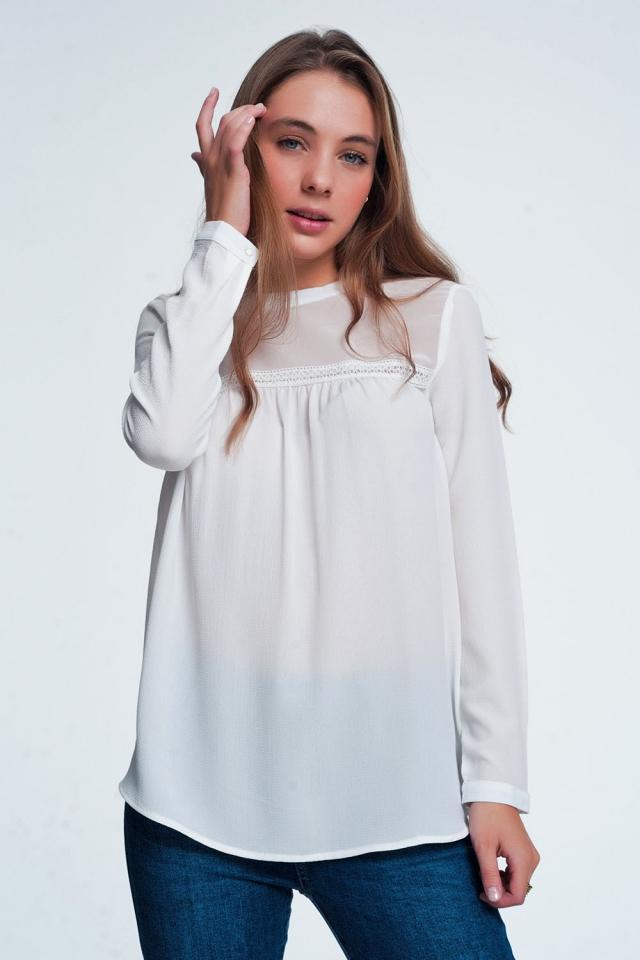 Cream shirt with stripe detail