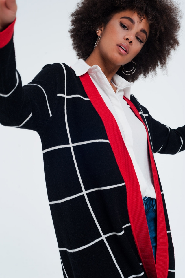 Black striped cardigan with red details
