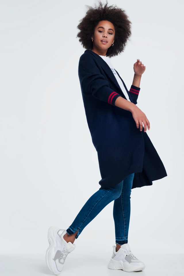 knitted shawl cardigan in navy blue