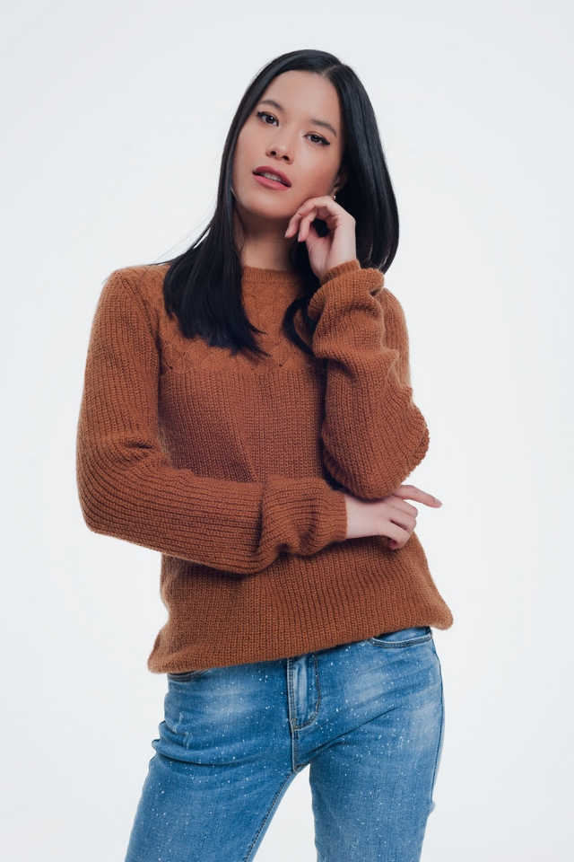 Textured brown sweatshirt